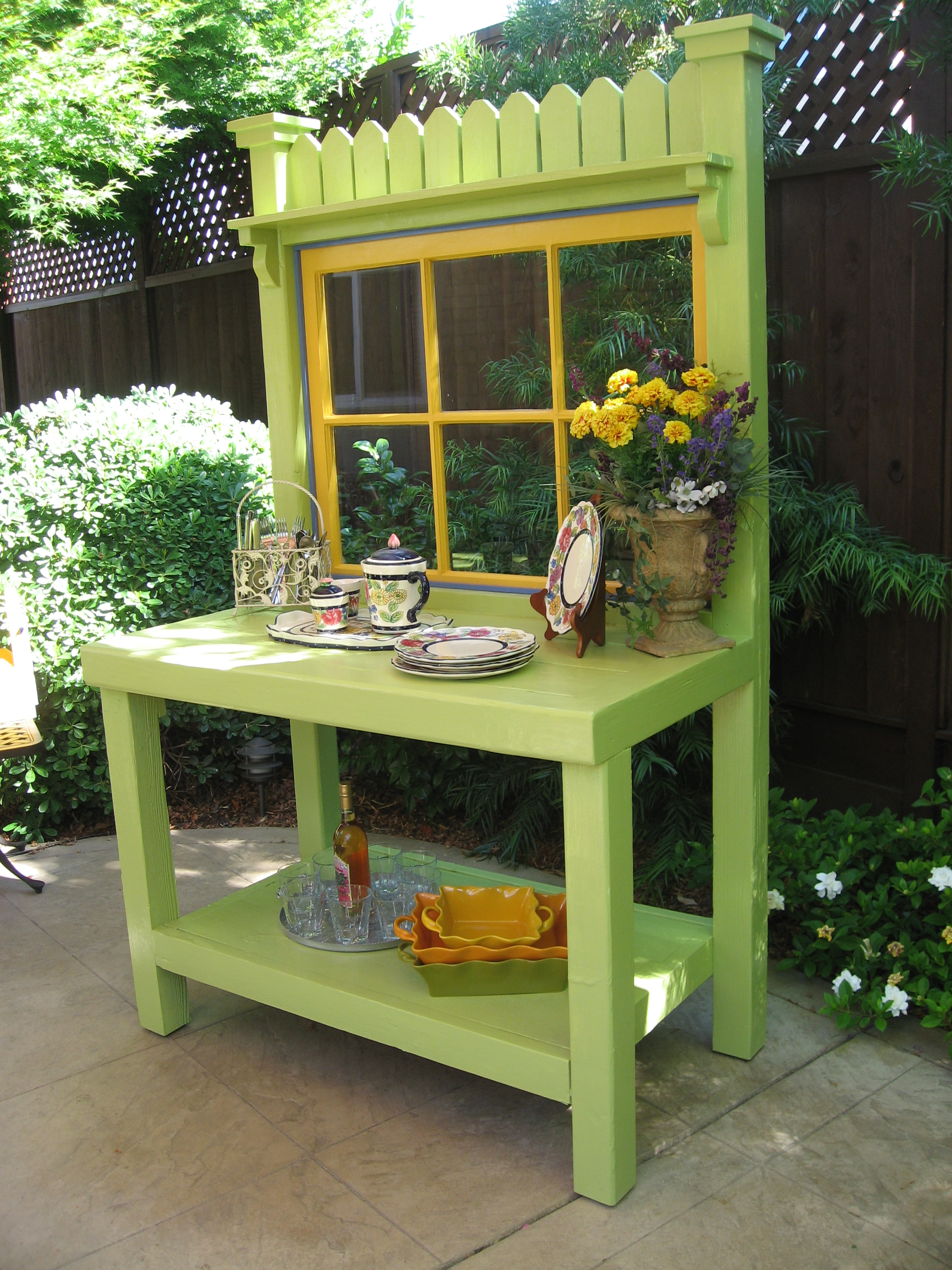 Wonderful Potting Benches Part - 14: Green Potting Bench 2